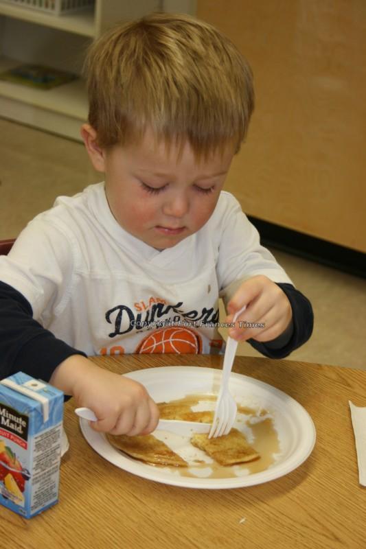 cutting pancake