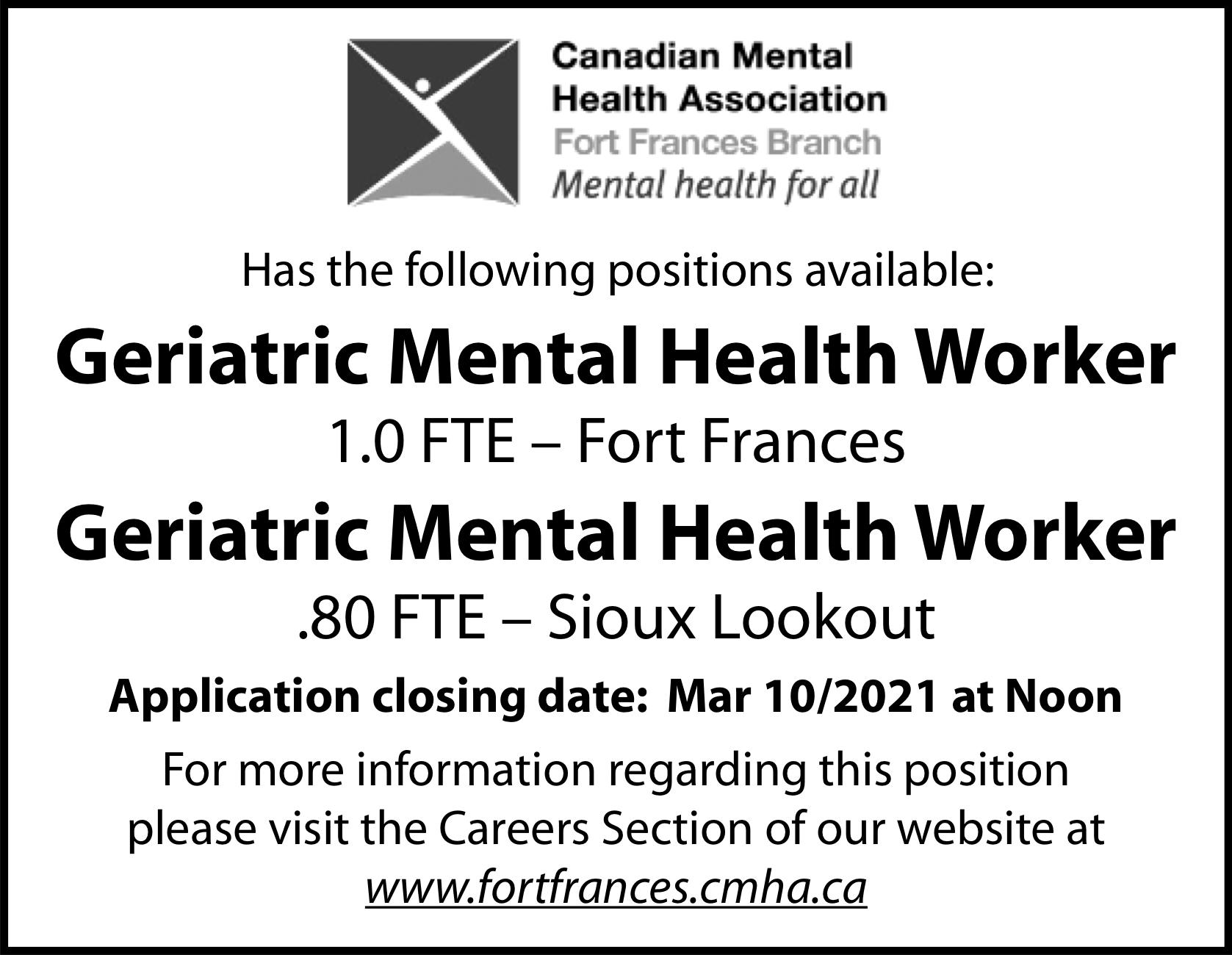 CMHA – Geriatric Mental Health Worker