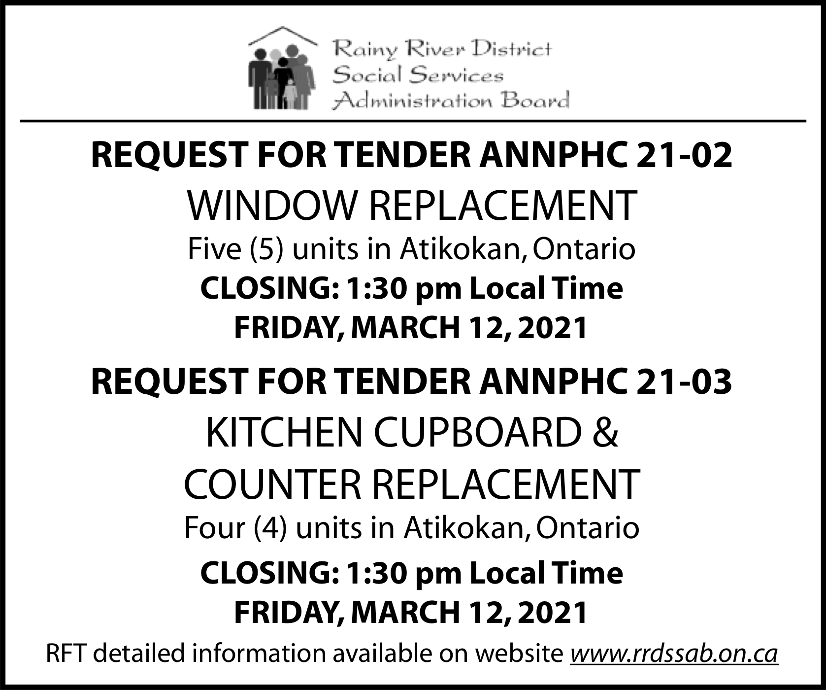 RRDSSAB Requests for Tender