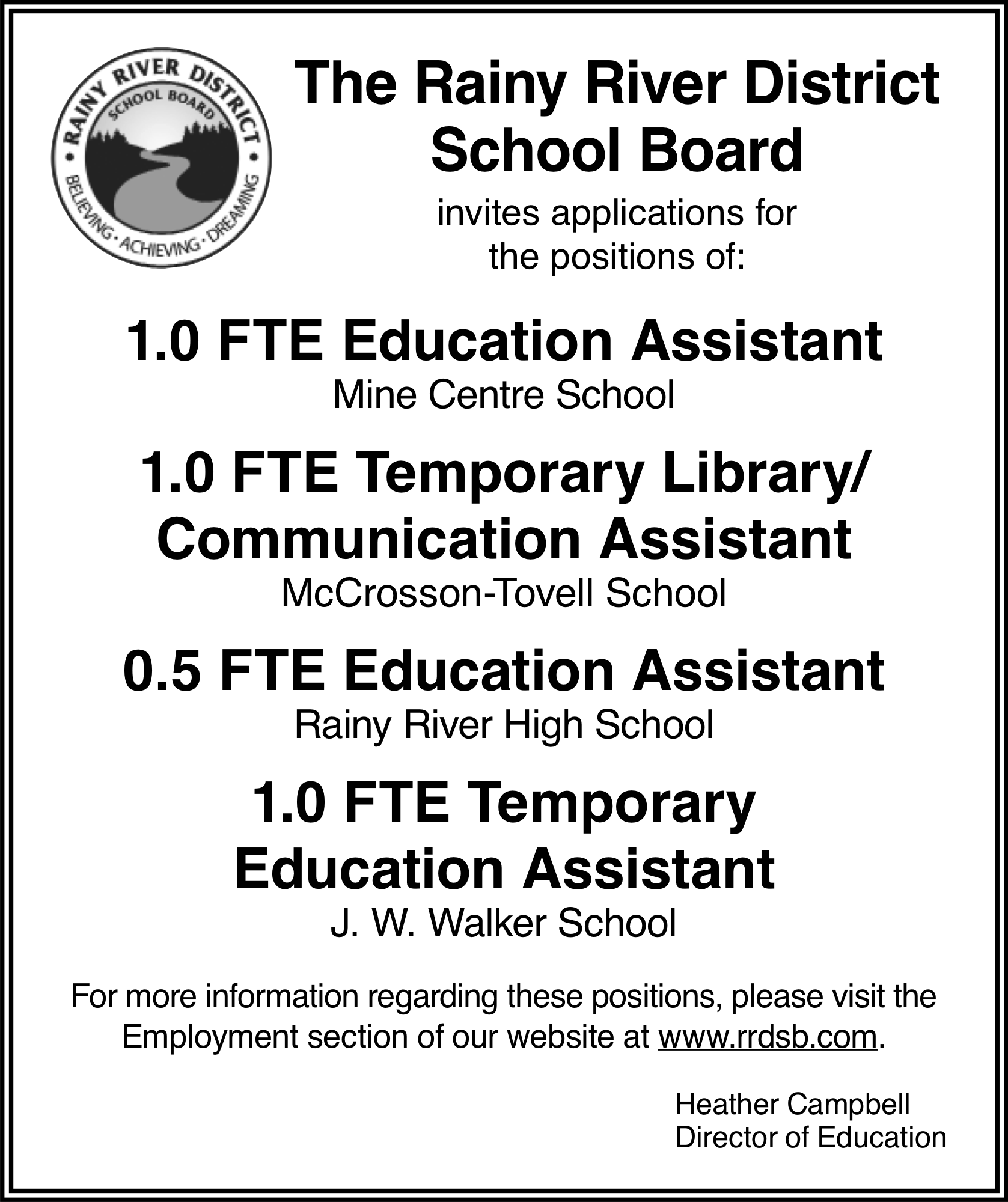 Education Assistant, Temporary Library/Communication Assistant, Education Assistant, Temporary Education Assistant