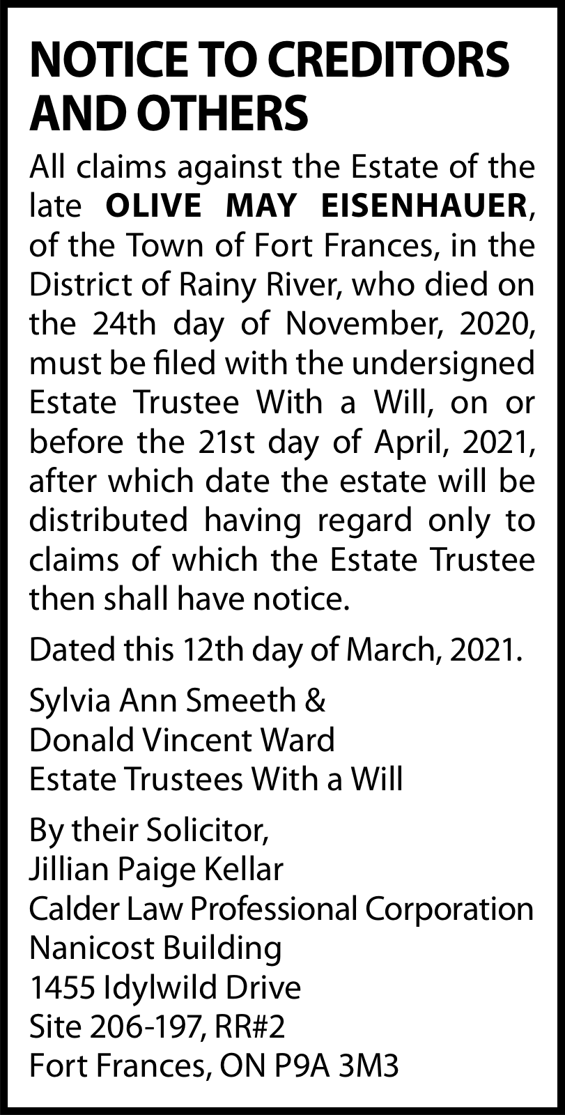 Notice to Creditors and Others