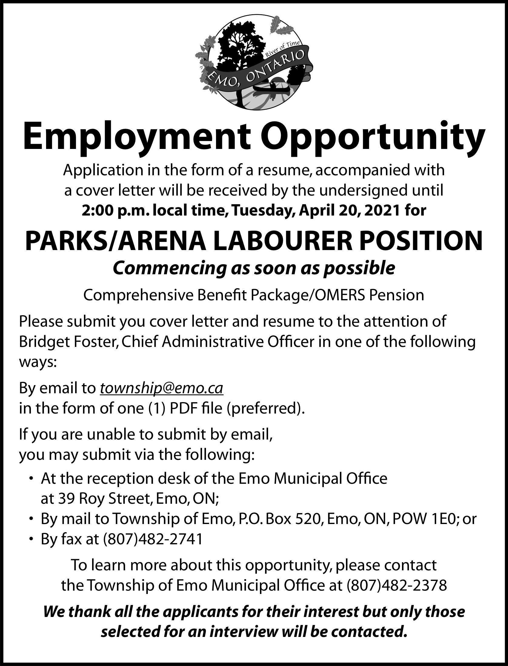 Parks/Arena Labourer Position