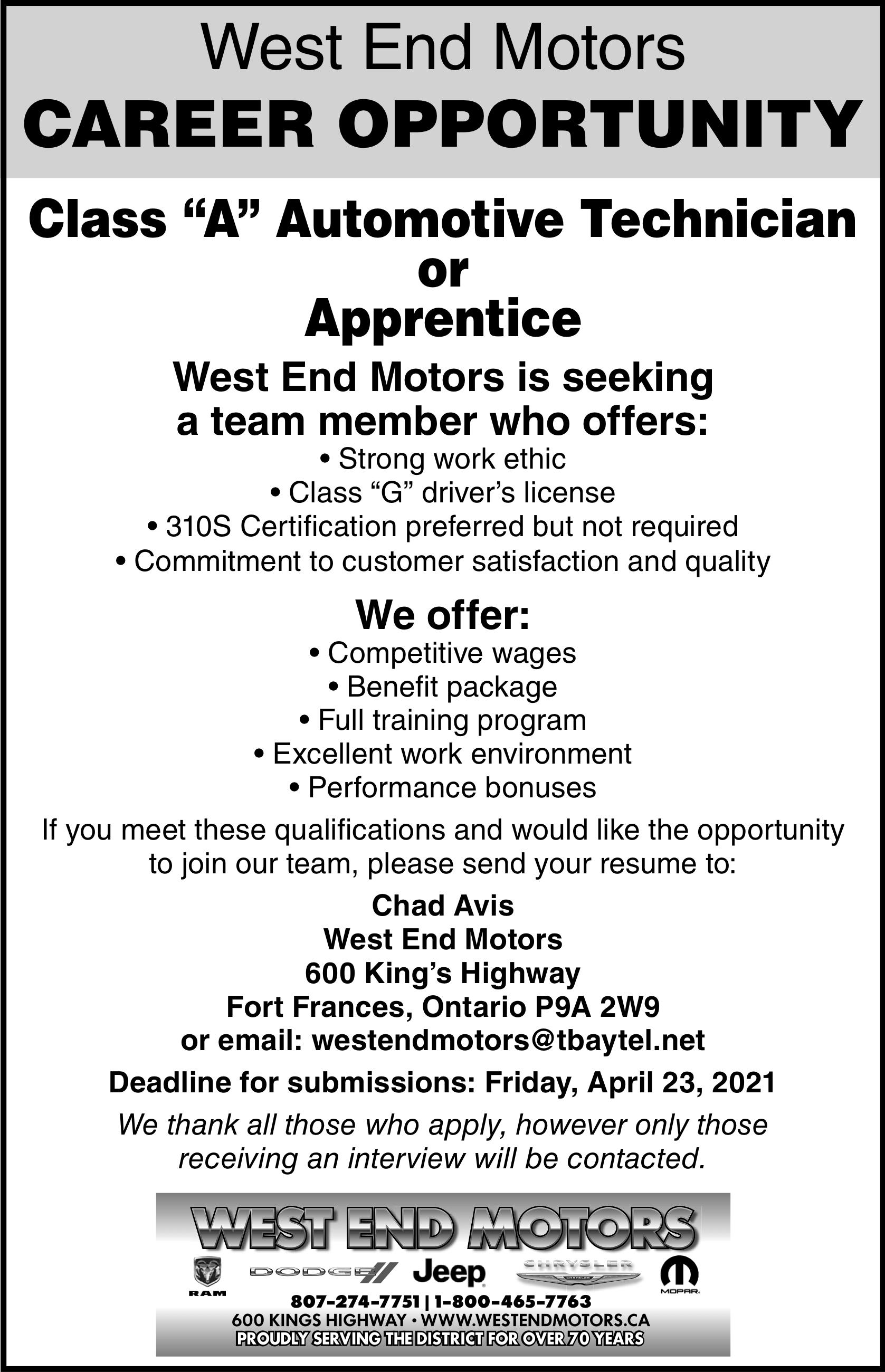 """Class """"A"""" Automotive Technician or Apprentice"""