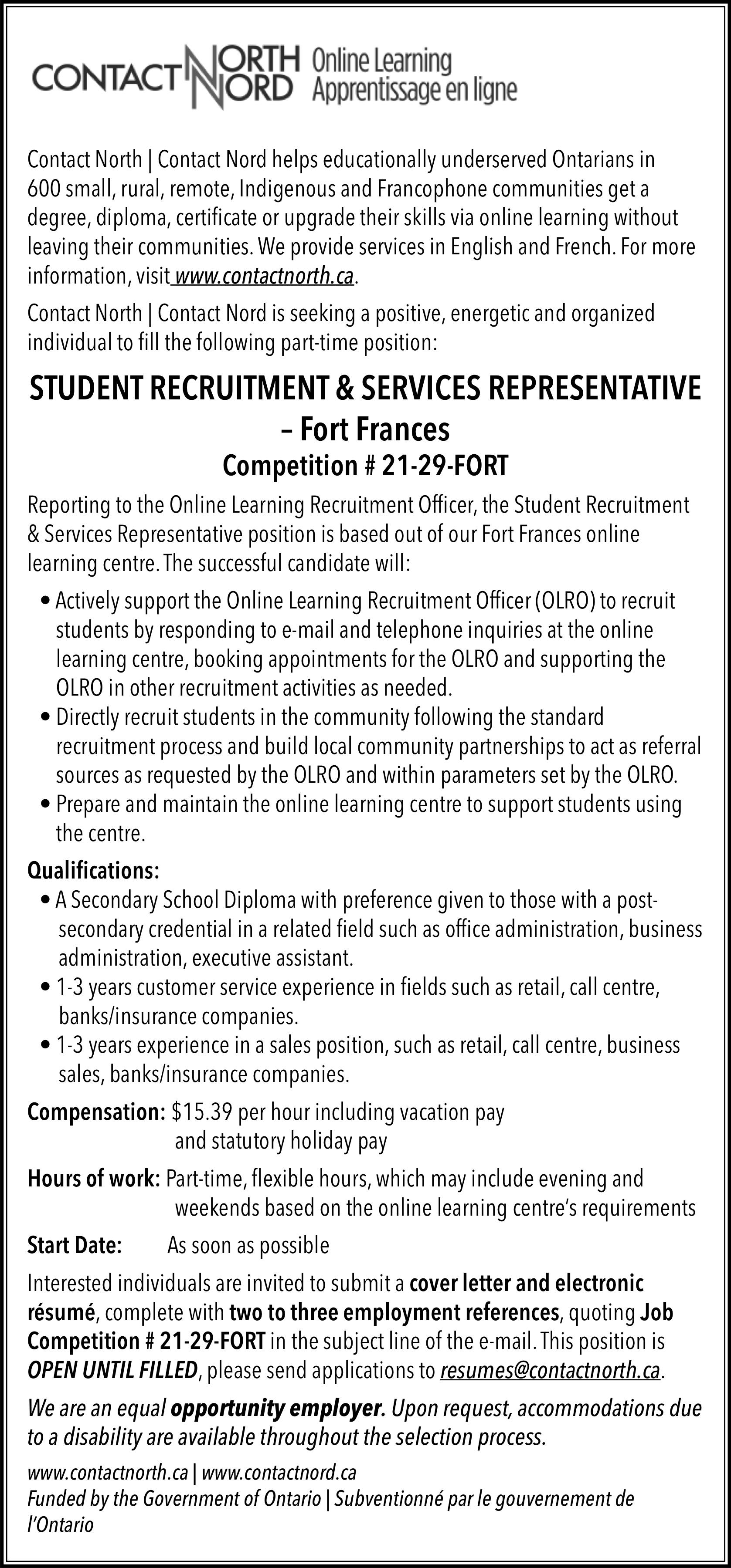 Student Recruitment & Services Representative