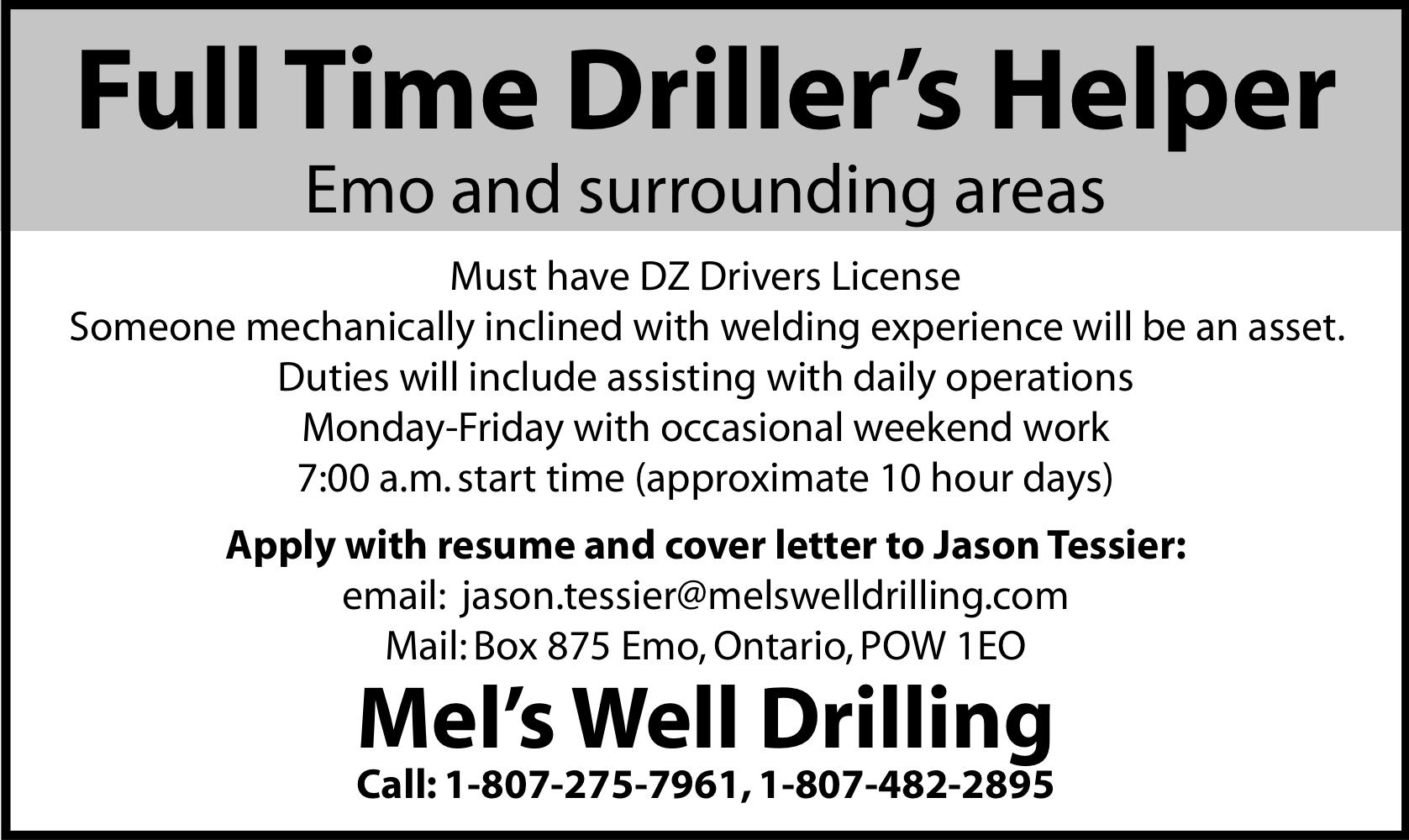 Full Time Driller's Helper