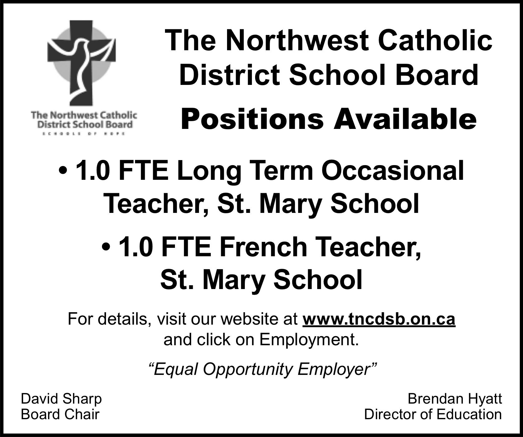 Northwest Catholic District School Board Postings