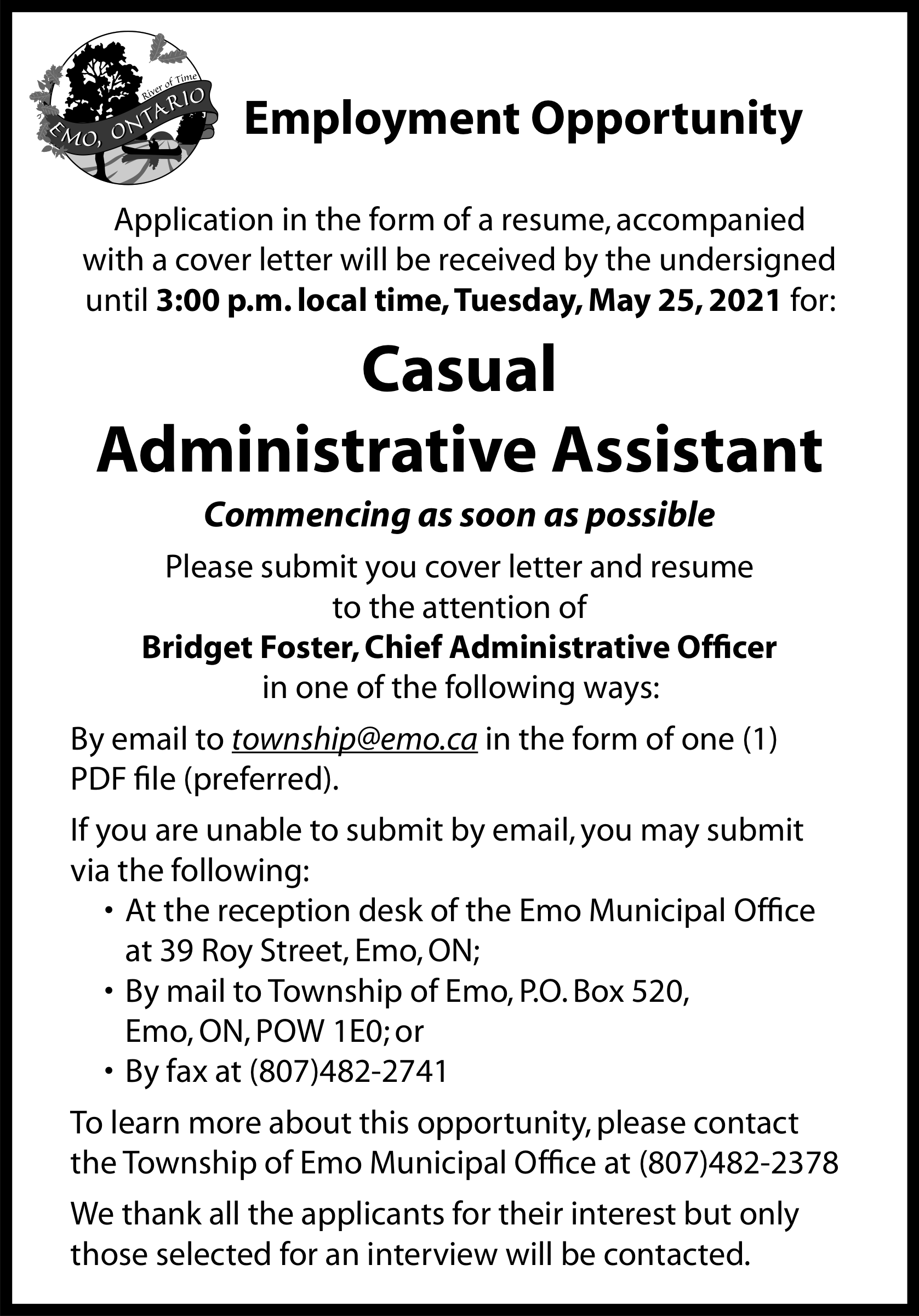 Casual Administrative Assistant