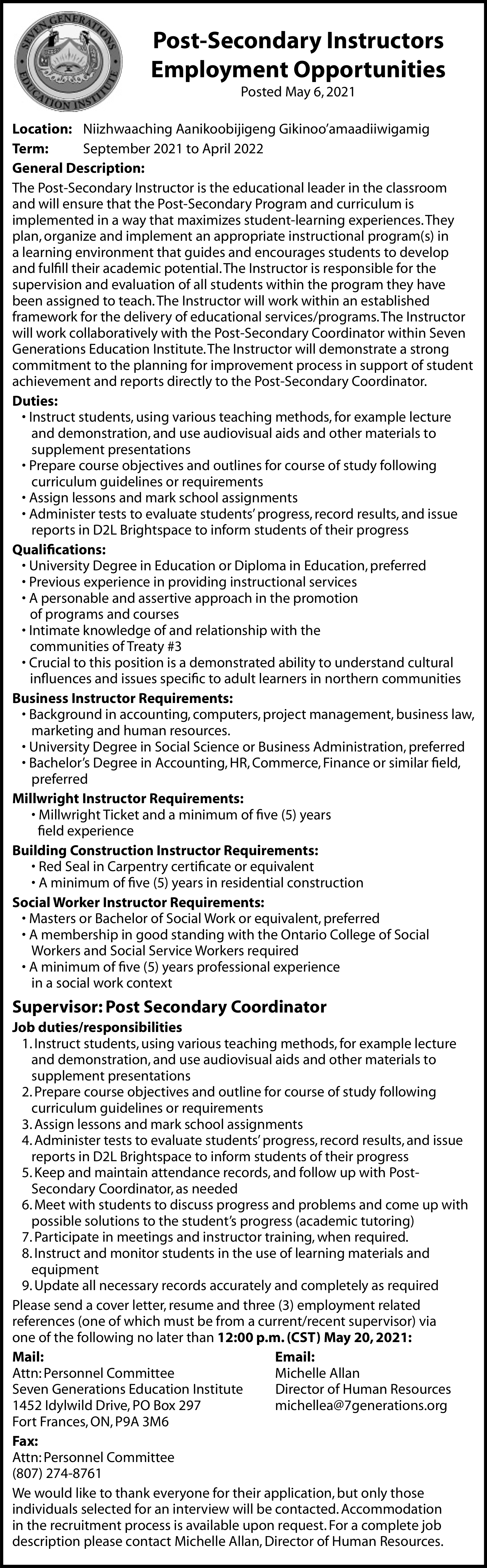 Post-Secondary Instructors Employment Opportunities