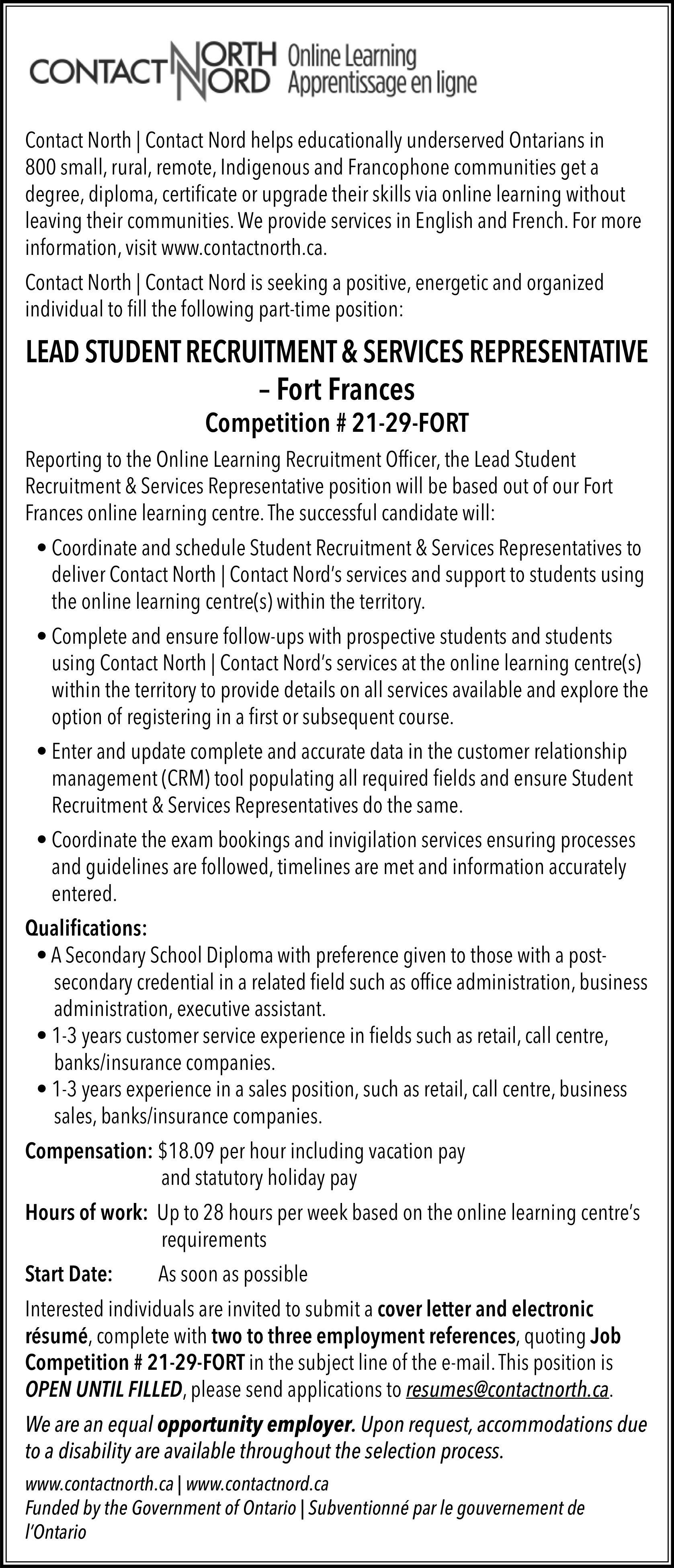 Lead Student Recruitment & Services Representative