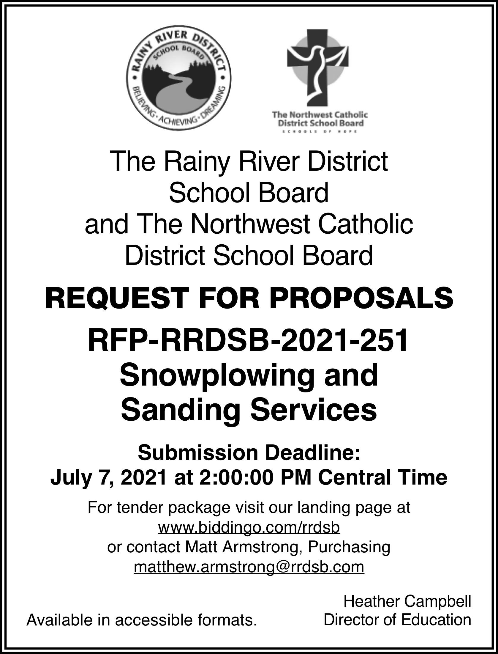 Request for Proposals: Snowplowing and Sanding Services
