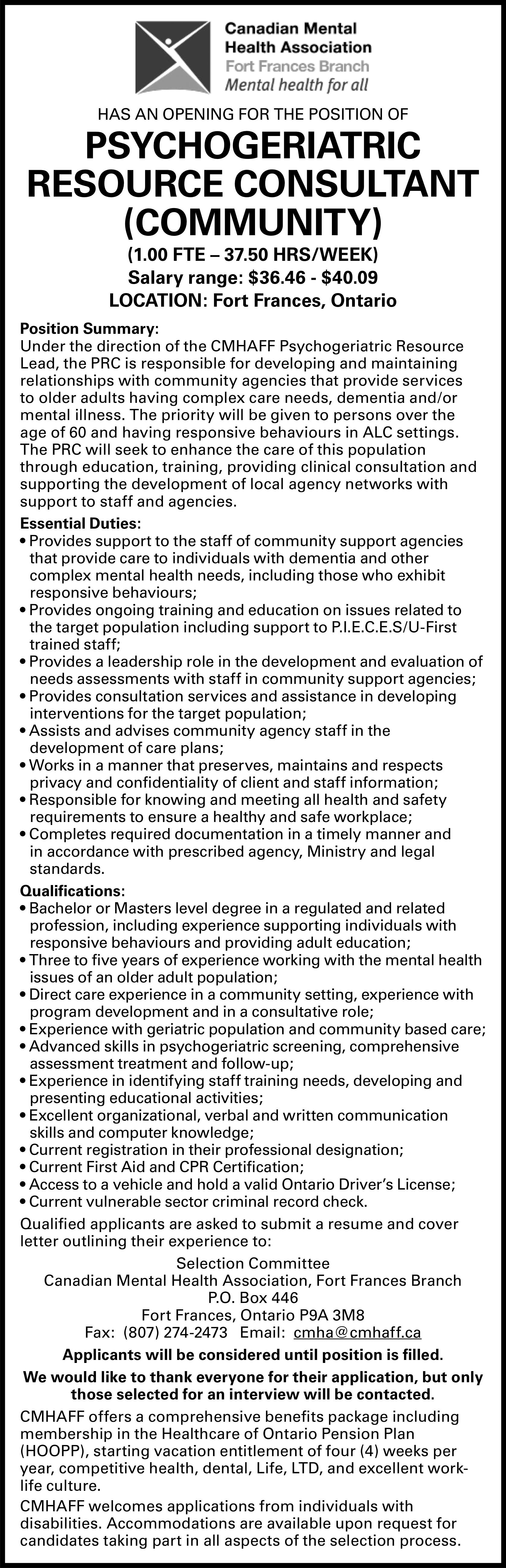 Psychogeriatric Resource Consultant (Community)