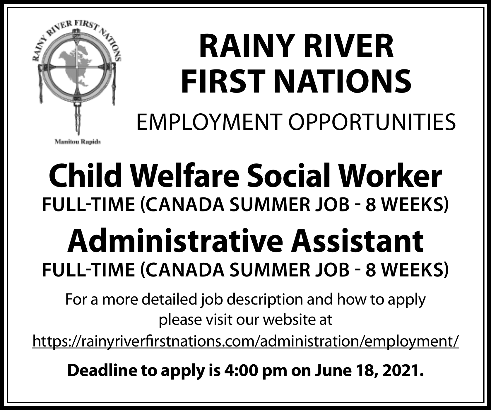 Child Welfare Social Worker, Administrative Assistant