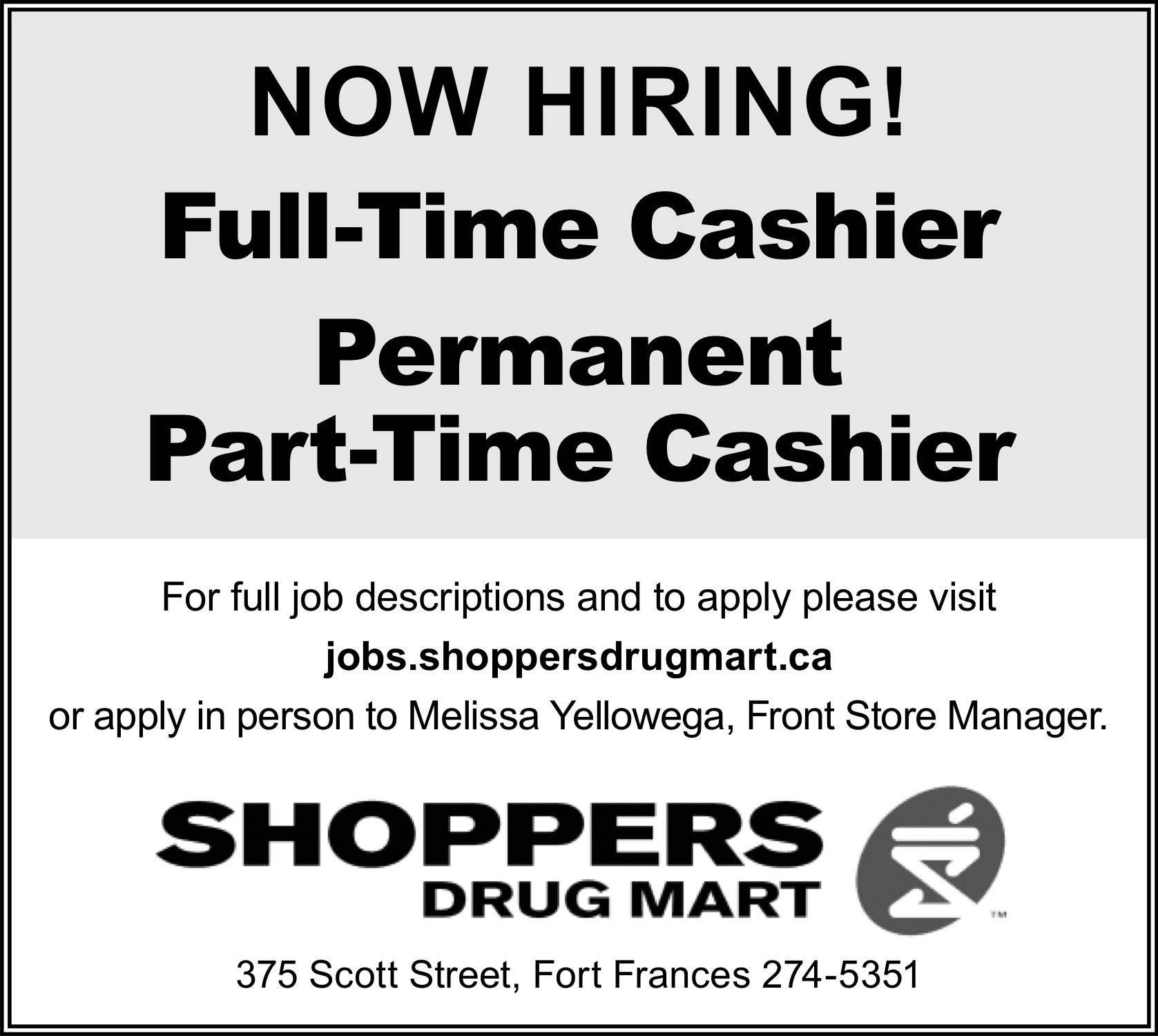 Full or Part Time Cashier