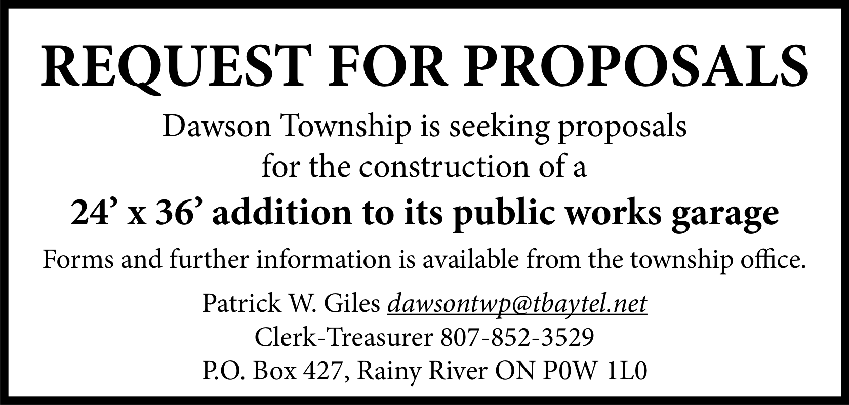 Request for Proposals: 24′ x 36′ addition to Dawson Township public works garage