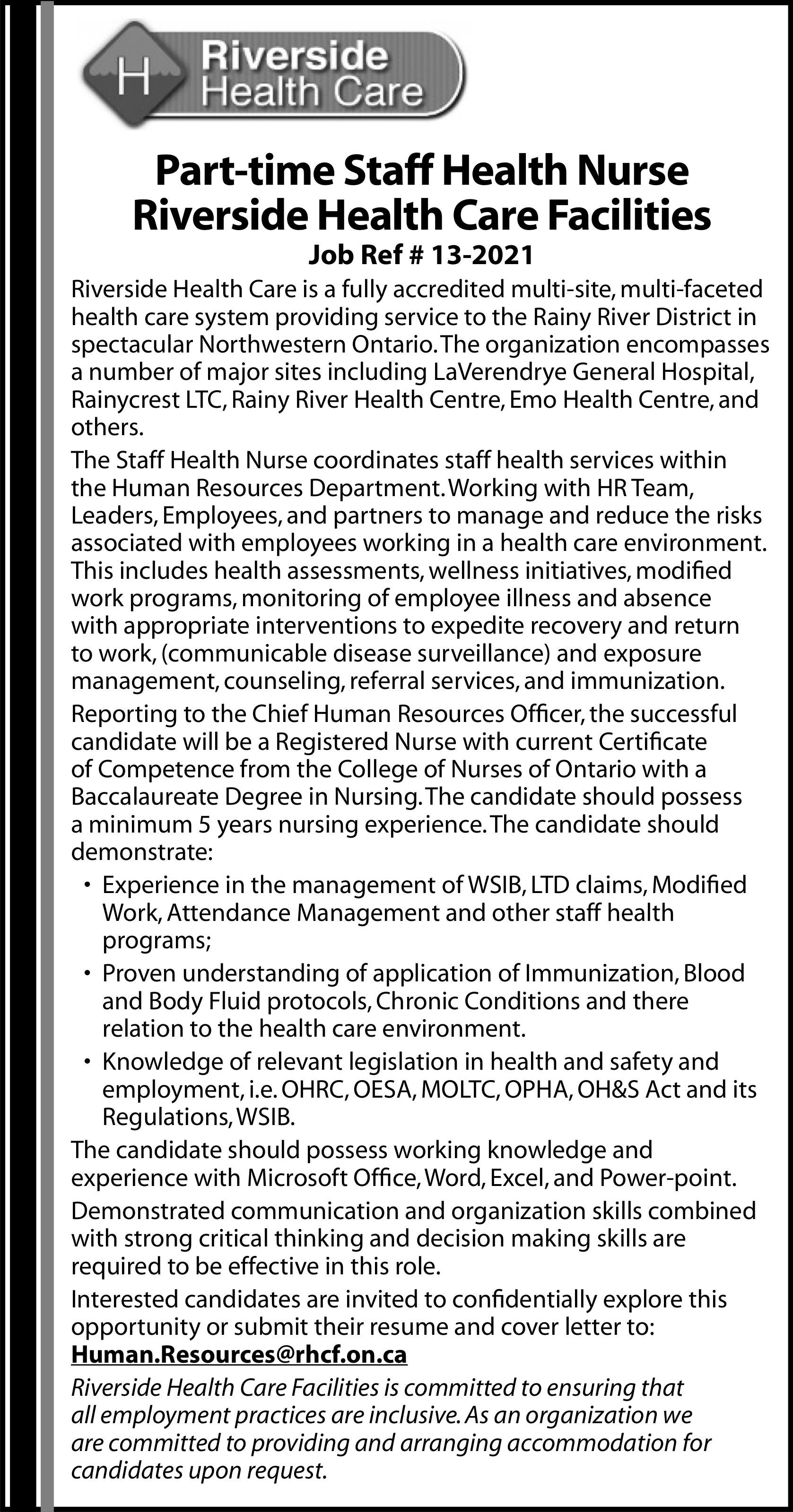 Part-time Staff Health Nurse