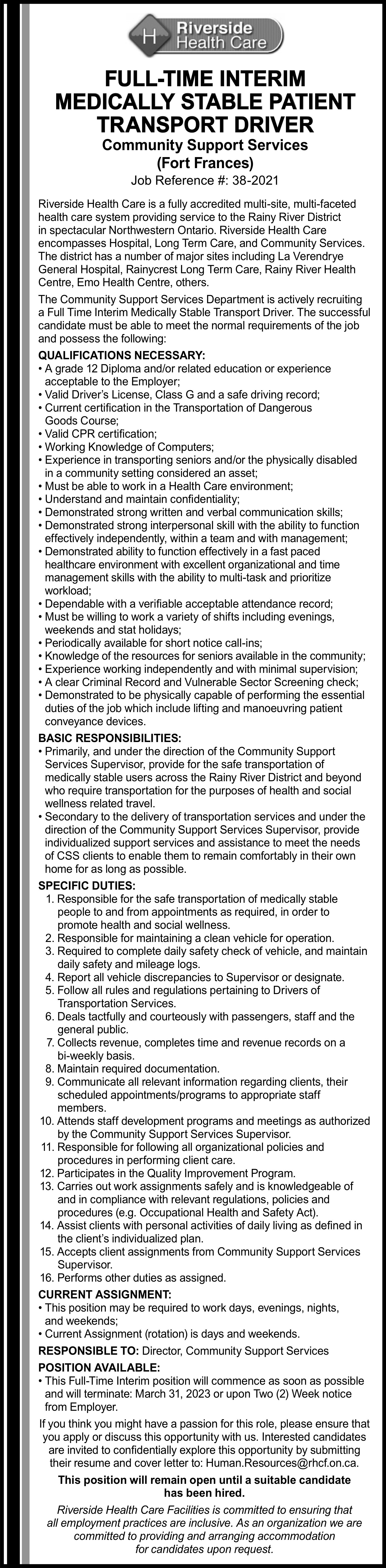 Full-Time Interim Medically Stable Patient Transport Driver