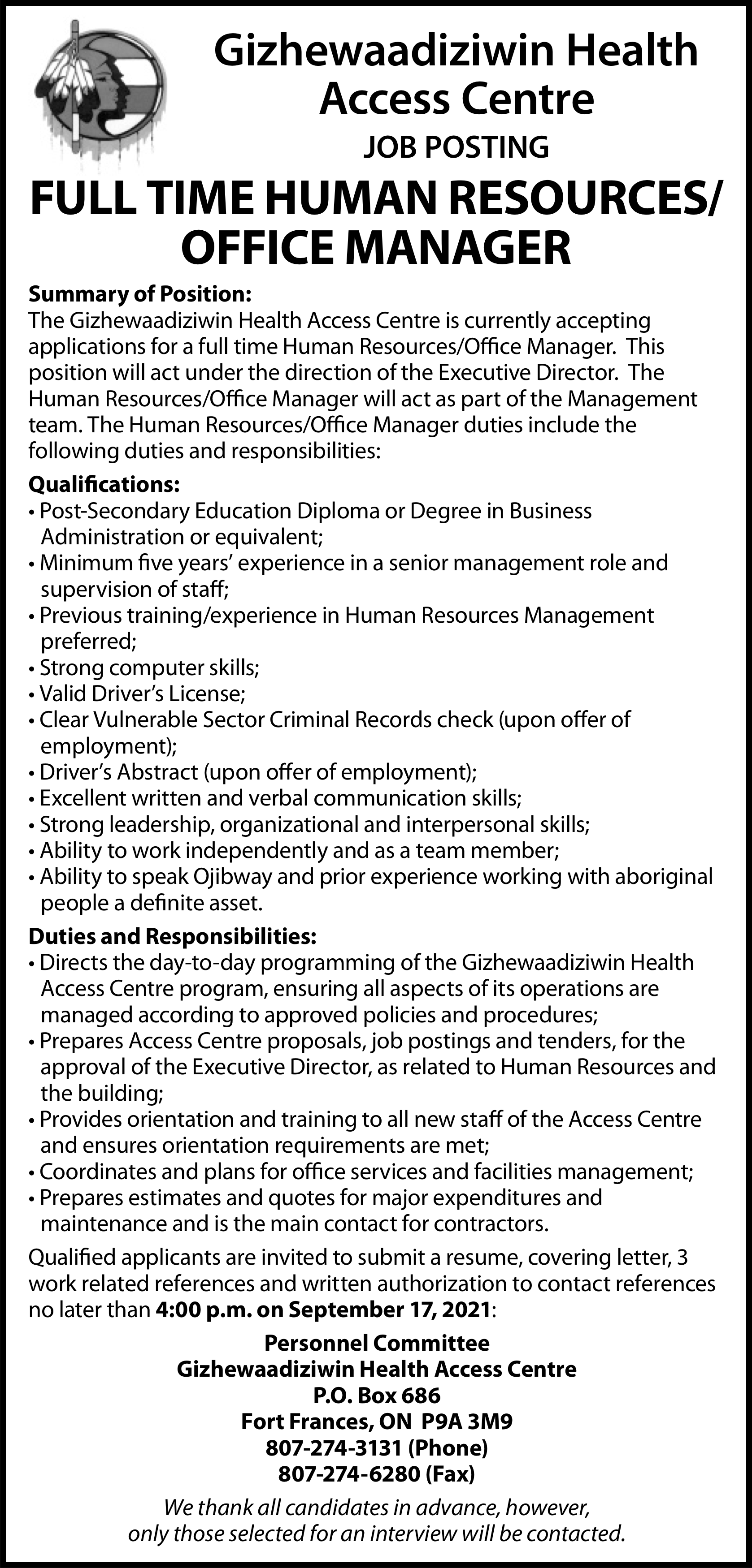 Full Time Human Resources/Office Manager