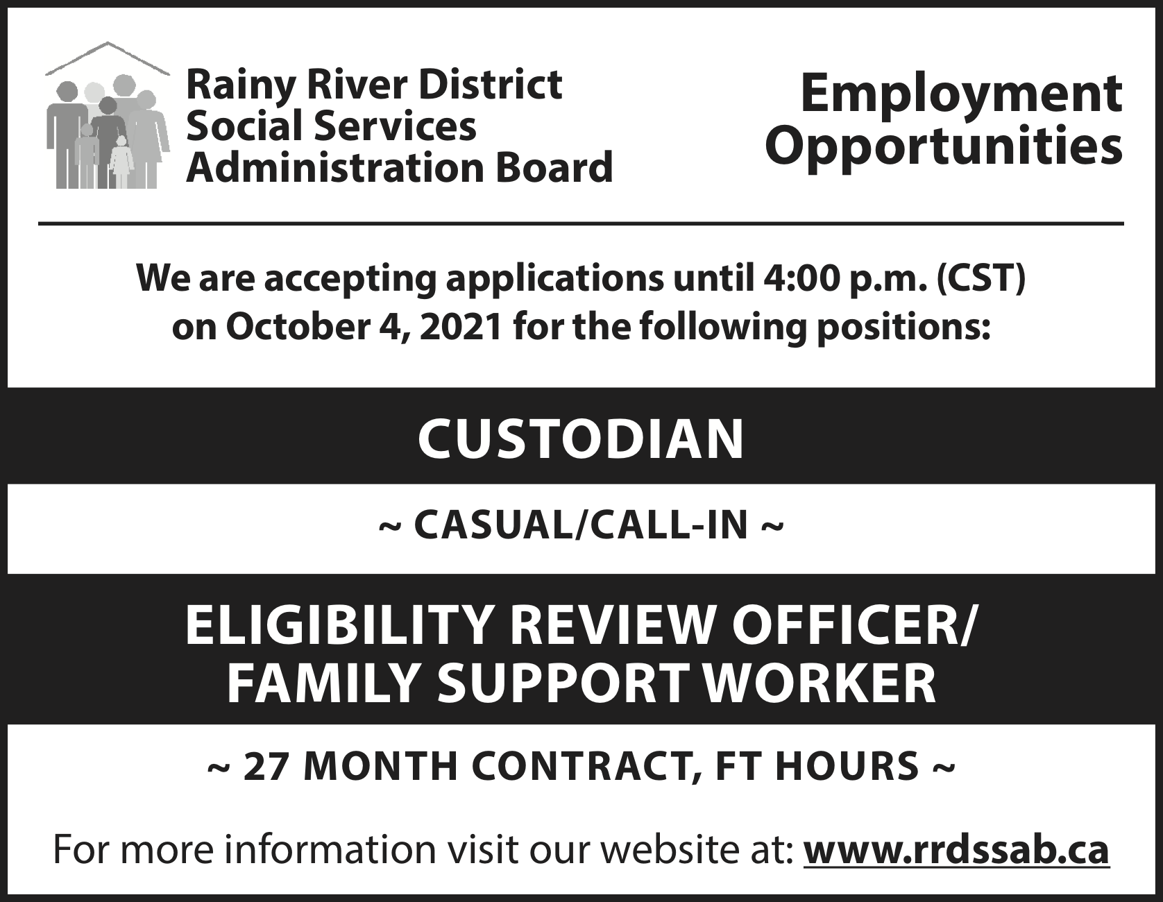 Custodian, Eligibility Review Officer/ Family Support Worker