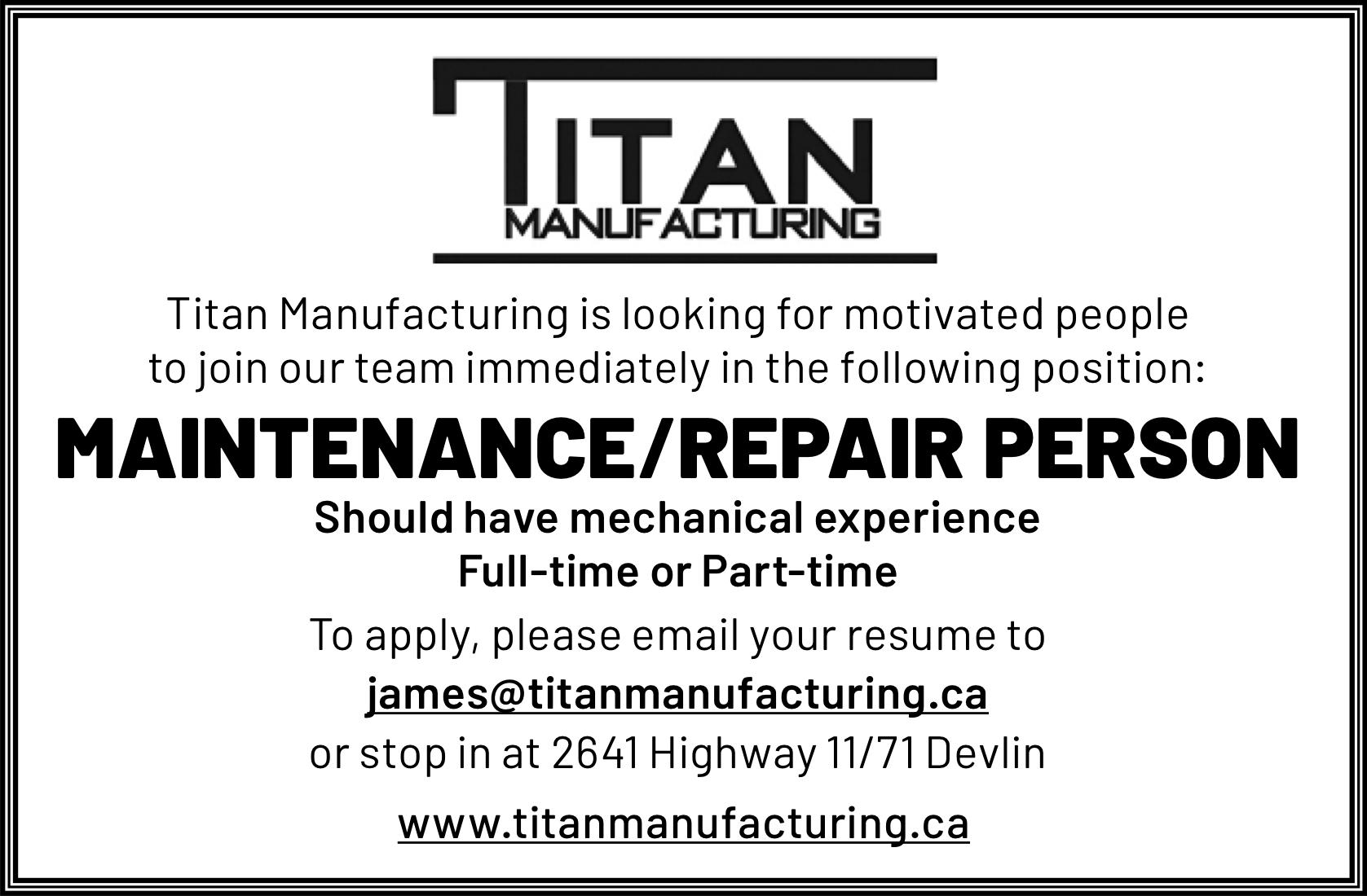 Maintenance/Repair Person