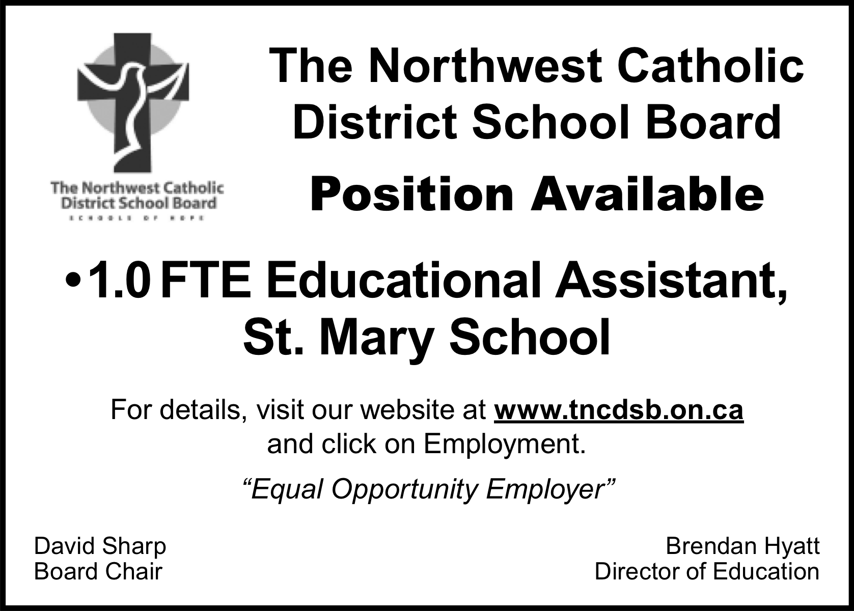 1.0 FTE Educational Assistant, St. Mary School