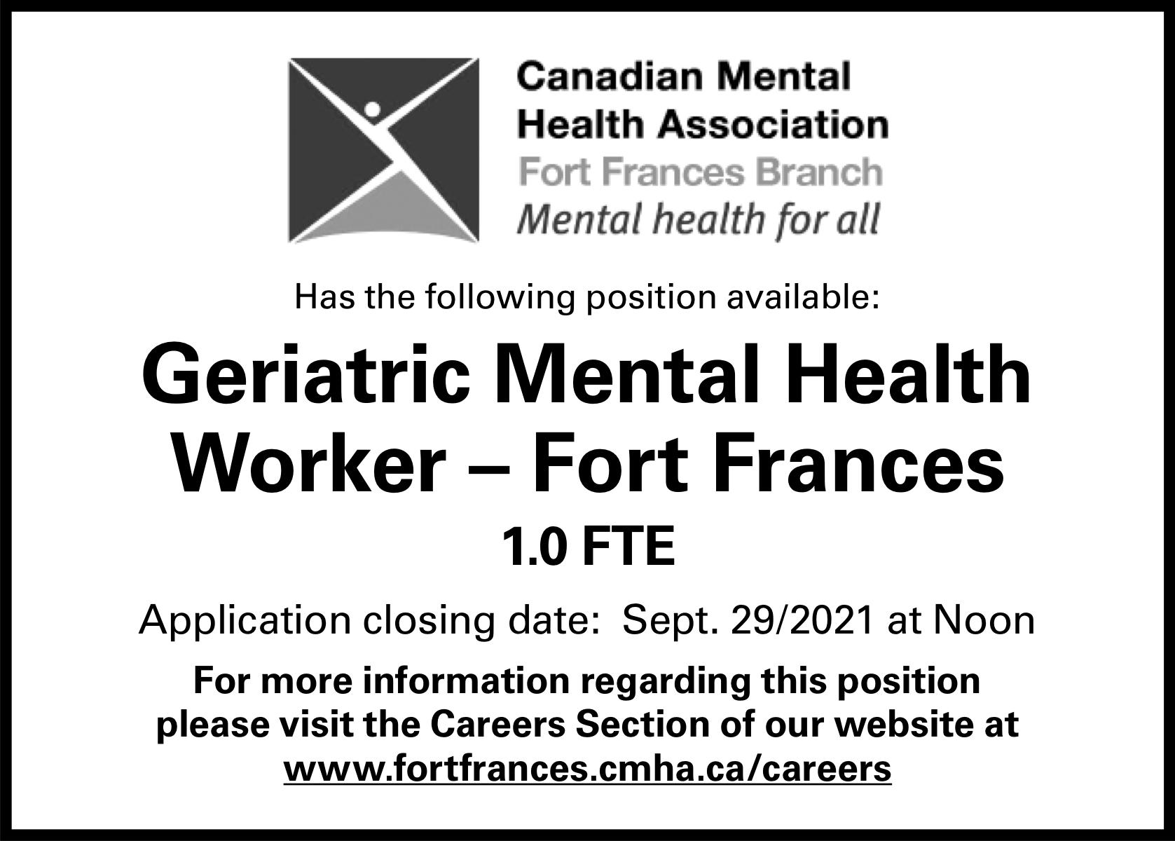 Geriatric Mental Health Worker – Fort Frances