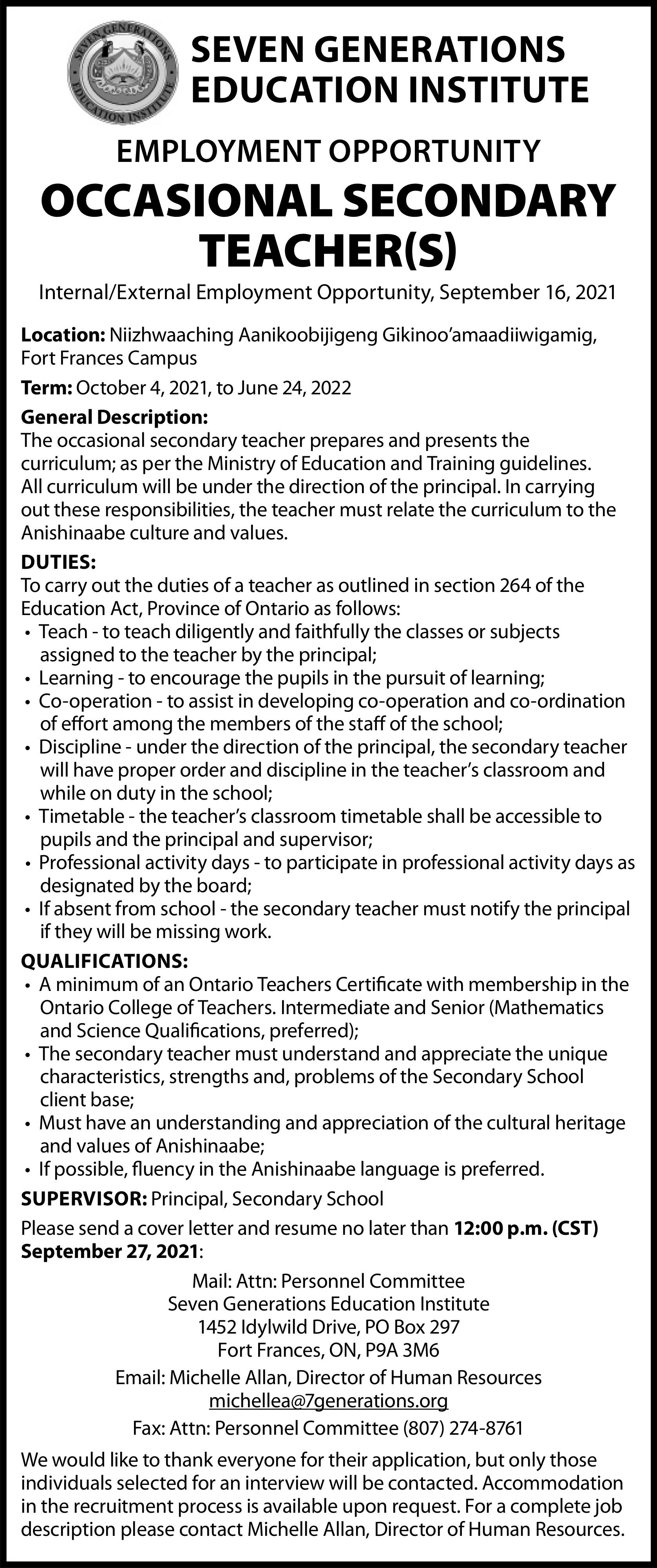 Occasional Secondary Teacher(s)