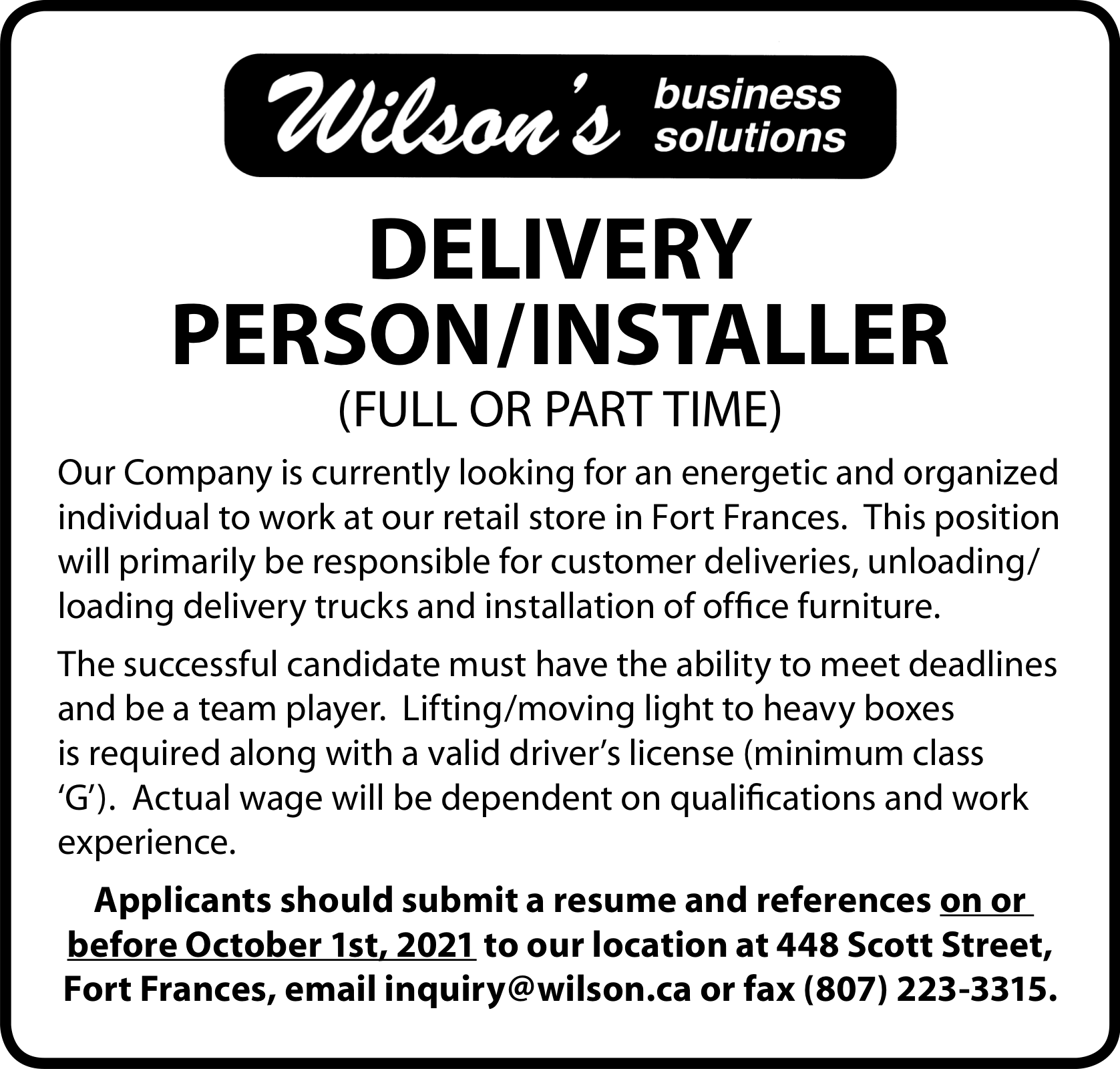 Delivery Person/Installer
