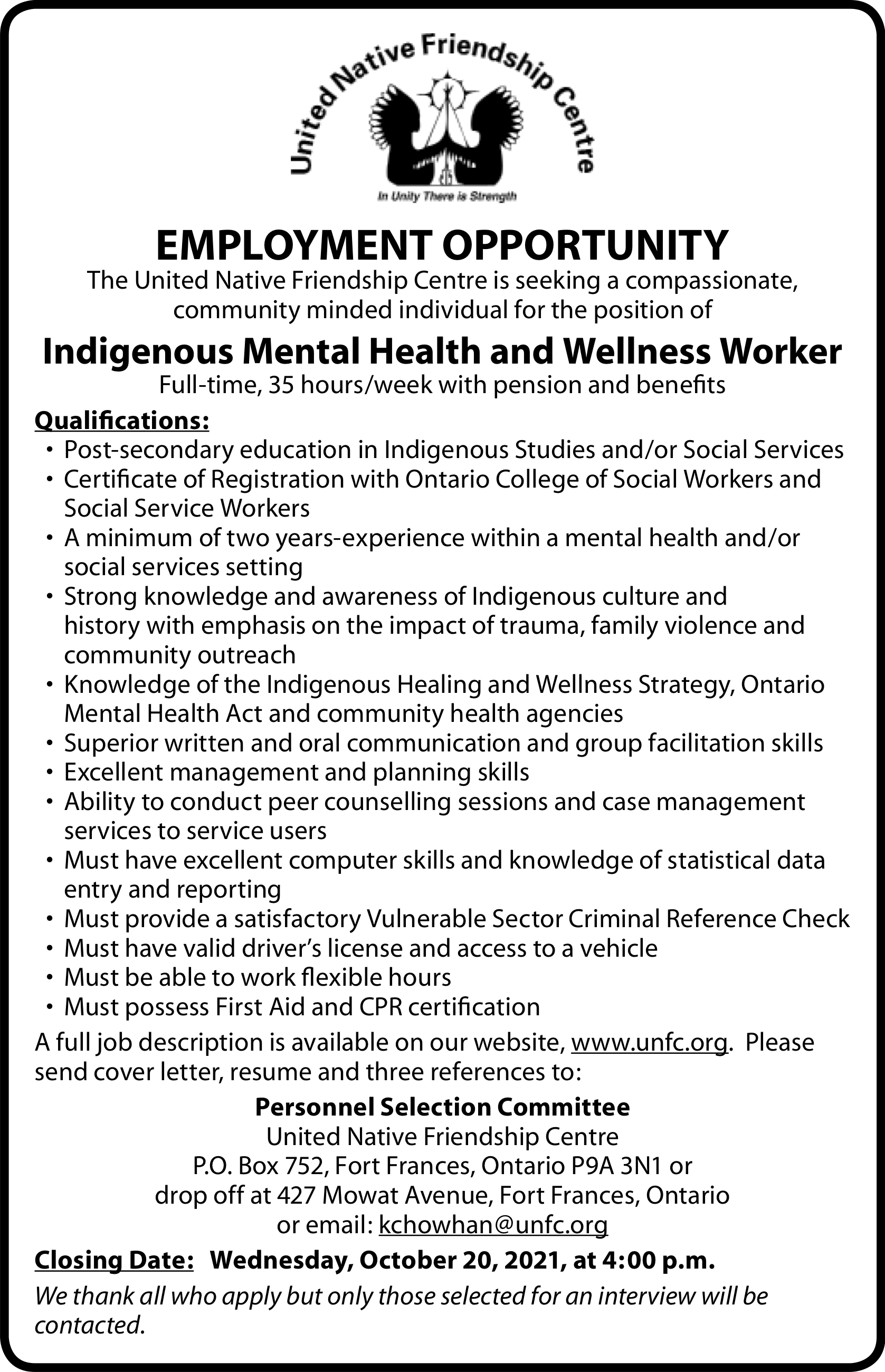 Indigenous Mental Health and Wellness Worker
